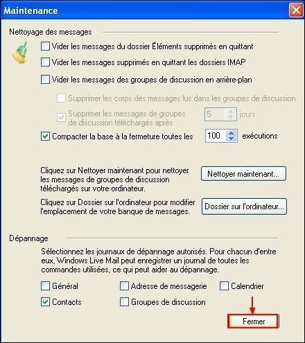 Modifier le dossier de stockage sous Windows Live Mail 7