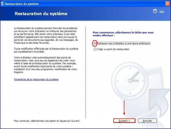 Restaurer le syst me windows xp for Fenetre windows xp