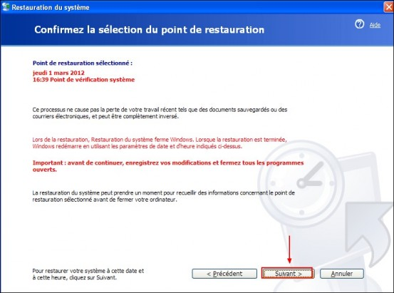 Restaurer le systeme Windows XP 3