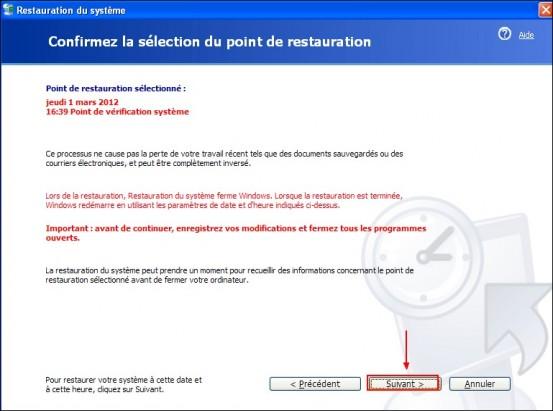 Restaurer le systeme Windows XP 3
