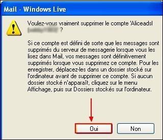 Supprimer un compte sous Windows Live Mail 1