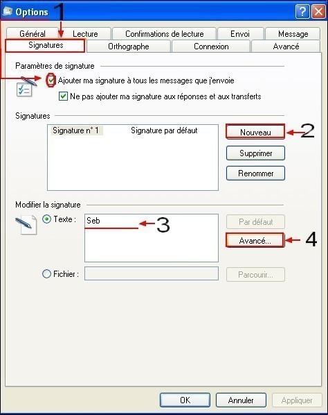 Windows Live Mail activer la signature des emails 1