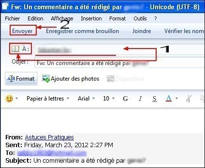 Windows Live Mail transferer un email 1