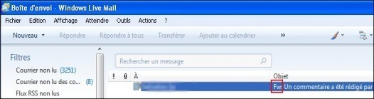 Windows Live Mail transferer un email 2