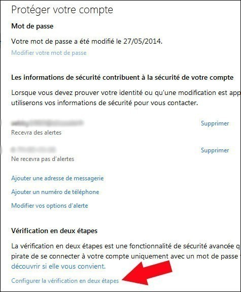 activer desactiver la double authentification windows live 2