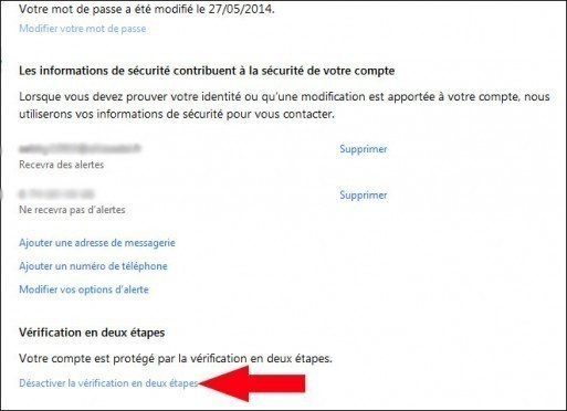 activer desactiver la double authentification windows live 4