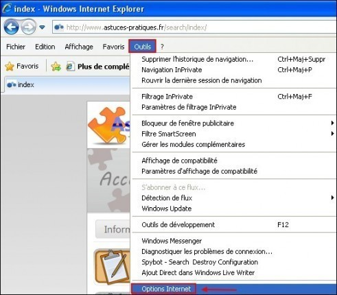 activer desactiver la suggestion de sites internet sous internet explorer 8 0