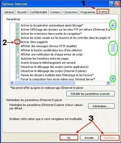 activer desactiver la suggestion de sites internet sous internet explorer 8 1
