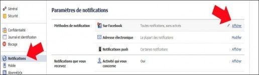 activer desactiver le son des notifications facebook 2