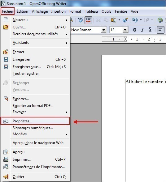 Afficher le nombre de mots d'un document openoffice