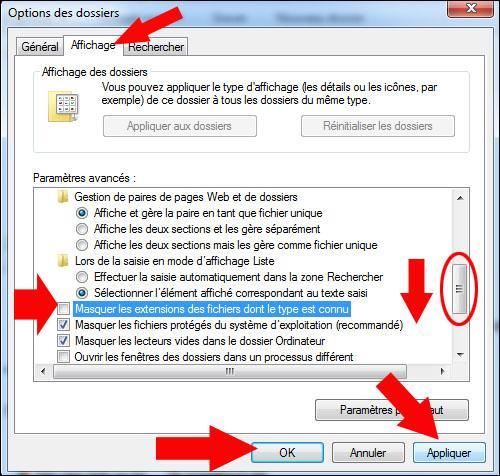 afficher ou masquer les extensions de fichiers sous windows seven 2