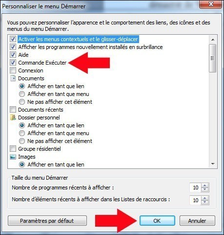 ajouter la commande executer au menu demarrer de windows 7 3