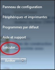 ajouter la commande executer au menu demarrer de windows 7 0