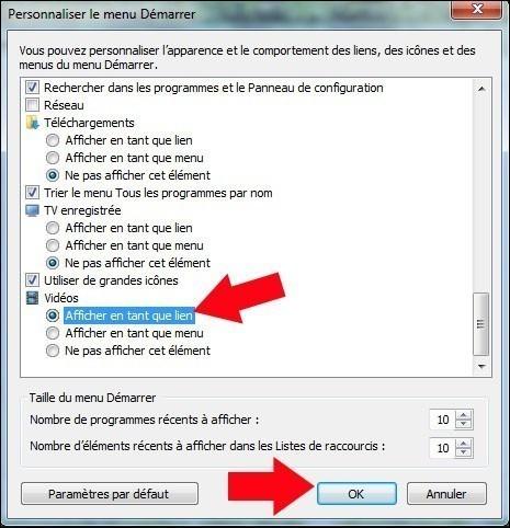 ajouter le dossier videos dans le menu demarrer windows 7 3