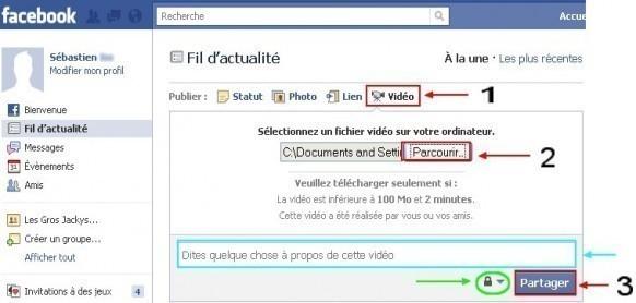 comment mettre video sur facebook