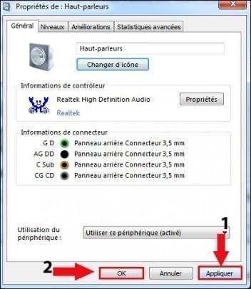 apparence des peripheriques audio windows 7 8