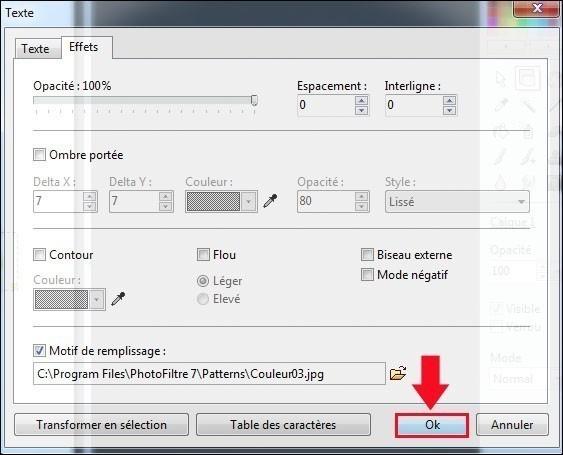 appliquer une texture a un texte avec photofiltre 6