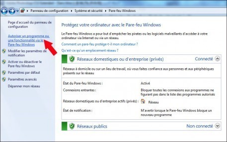 autoriser un logiciel a traverser le pare feu windows 7 3