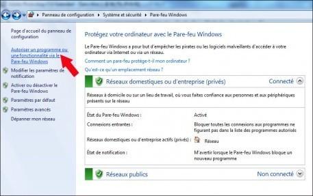 autoriser un logiciel a traverser le pare feu windows 7 3