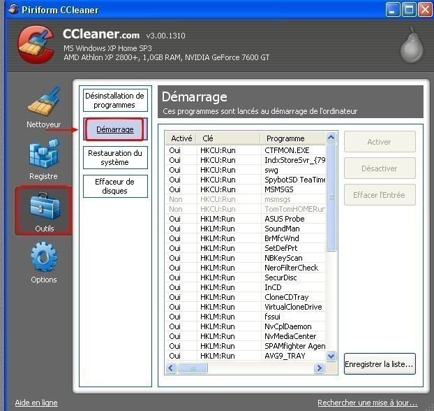 ccleaner desactiver un ou plusieurs programmes au demarrage 2
