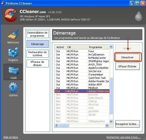 ccleaner desactiver un ou plusieurs programmes au demarrage 3