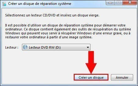 cd reparation windows 7 3