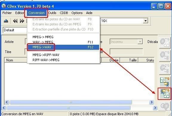 cdex convertir un mp3 en wav 2