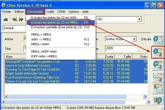 cdex extraire un cd audio en mp3 2