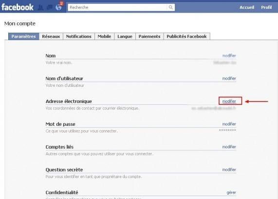 changer son adresse email sur facebook 1