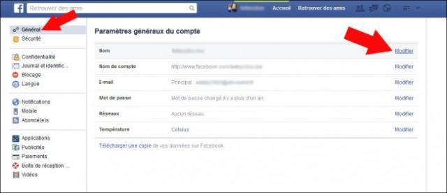 comment changer de nom sur facebook 2