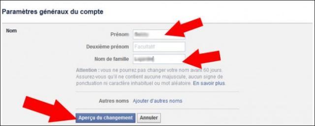 comment changer de nom sur facebook 3
