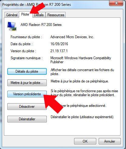 comment restaurer la version precedente du pilote graphique sous windows 7 3
