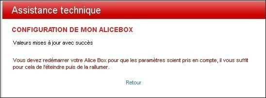 configuration de la alice box 5