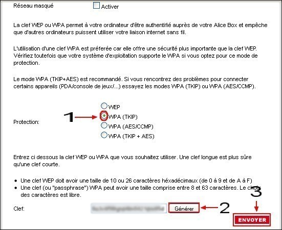 configuration du reseau wifi sur alice box 4
