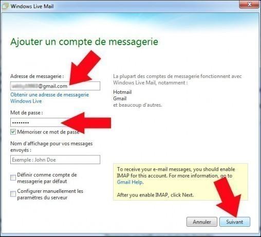configurer gmail avec windows live mail 7