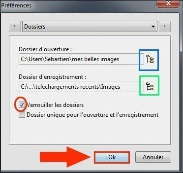 definir le dossier d enregistrement sous photofiltre 1