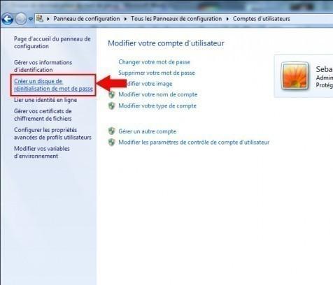 disque de reinitialisation de mot de passe windows7 2
