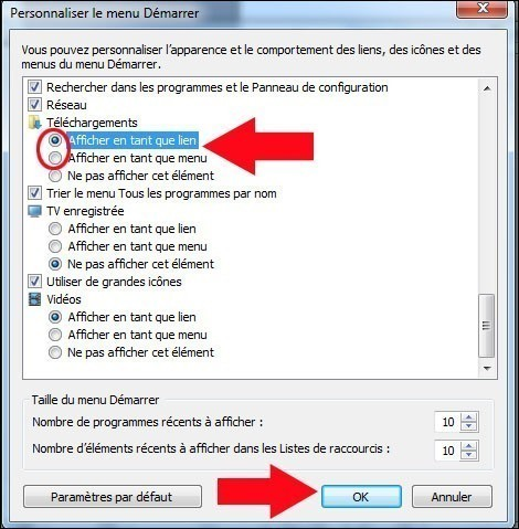 dossier telechargements menu demarrer windows 7 3