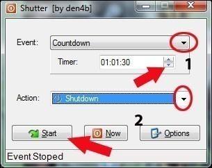 eteindre automatiquement son pc avec shutter 4