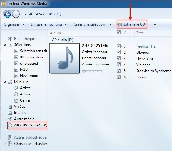 Extraire un cd audio avec windows média