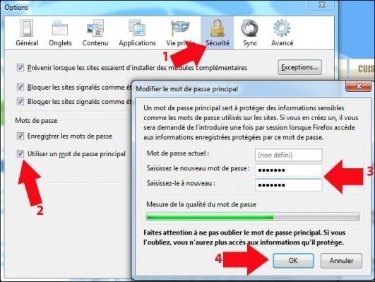 firefox mot de passe principal de securite personnelle 2