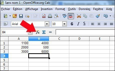 fonction somme sous calc openoffice 1
