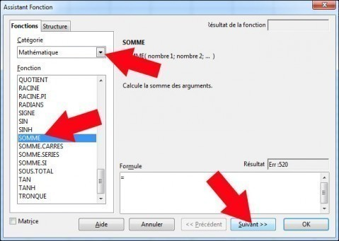 fonction somme sous calc openoffice 2