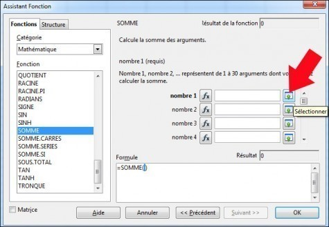 fonction somme sous calc openoffice 3