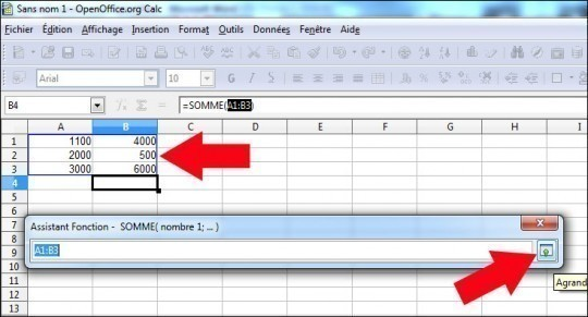 fonction somme sous calc openoffice 4