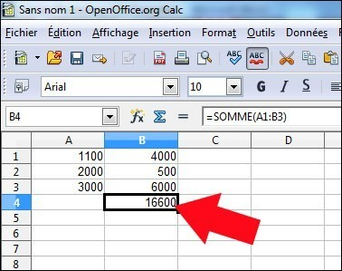 fonction somme sous calc openoffice 6