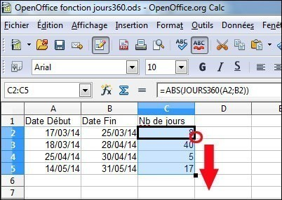 formule jour360 sous openoffice 5