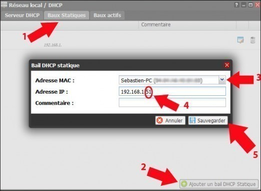 freebox revolution dhcp assigner une ip fixe 4