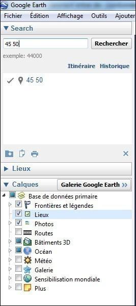 google earth comment entrer des coordonnees 2