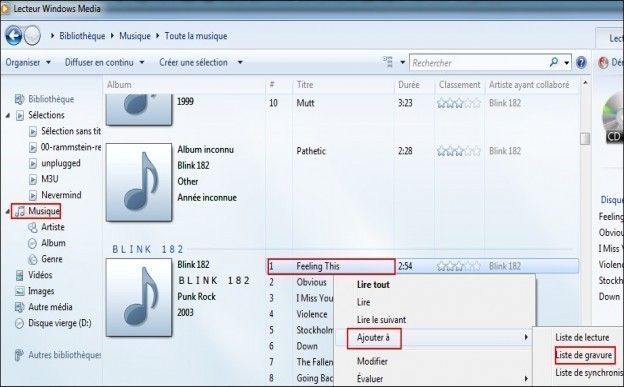 graver des mp3 en cd audio avec windows media 1